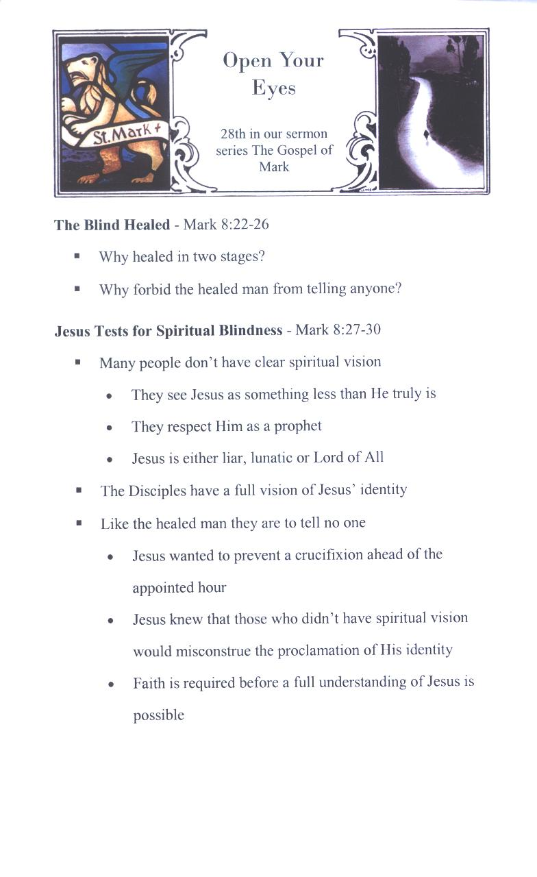 CEFC Gospel of Mark Sermons Page